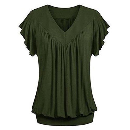 ESAILQ Damen Modisch Damen Shirt Kurzarm Revers Schlank Hemd Arbeit V-Ausschnitt mit Knöpfe(XXXL,Armeegrün)