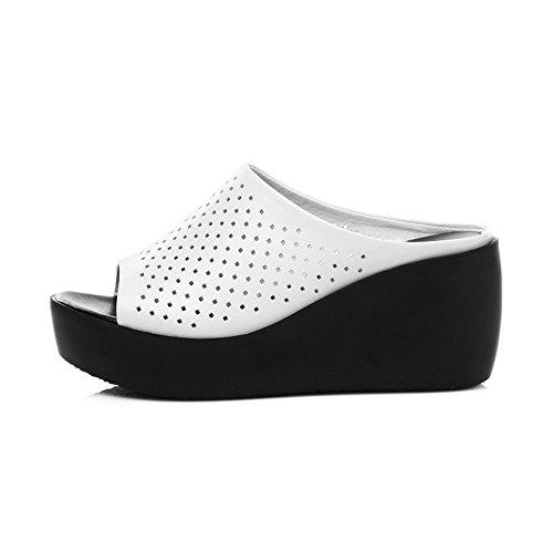 TMKOO& Fulmine lotto di focaccina sandali fondo pesante e pantofole femmina pendenza tunnel cavità con i pattini di cuoio impermeabili Bianca