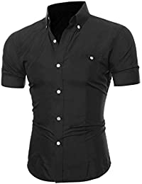 Hemden Herren LUCKYCAT 2018 Neu Fashion Hemden Kurzarm Einfarbig Slim Fit  Bügelfreie Hemden Baumwolle aa088ff440