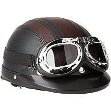 KKmoon Motorino Motociclo Casco Aperto del Fronte Mezzo Cuoio con Visiera UV Occhiali di Protezione Retro Vintage Stile 54-60cm Marrone