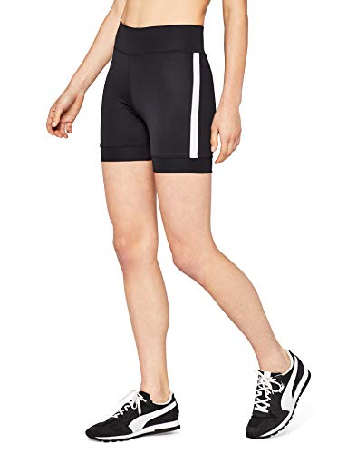 AURIQUE Side Stripe Cycling Sport Shorts, Schwarz (Black), 38 (Herstellergröße: Medium)