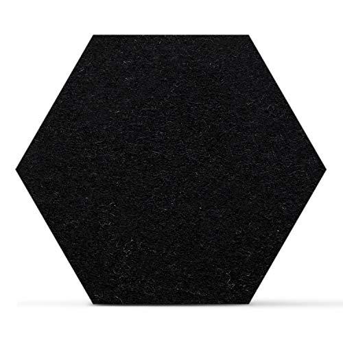 SMACC Filzuntersetzer, Hexagon 8er Set (Farbe wählbar) - Glasuntersetzer aus 100% Schafwolle, Untersetzer für Bar und Tisch, Einrichtungsideen als Tischdeko (Schwarz)