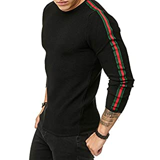 463853b5c4d4 Red Bridge Herren Streifen Pullover Strickpullover Luxury Line Sweater  Schwarz M