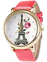Yellow Chimes Eiffel Love White Dial Peach Strap Analog Watch For Women And Girls