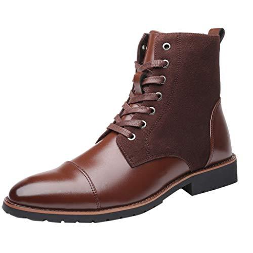 Uomo Stivaletti Stringati, MEIbax Stivali Comfort Stivaletti Boots All'Aperto Scarpe Uomo Stivali Morbida Pelle Scarpe da Lavoro retrò