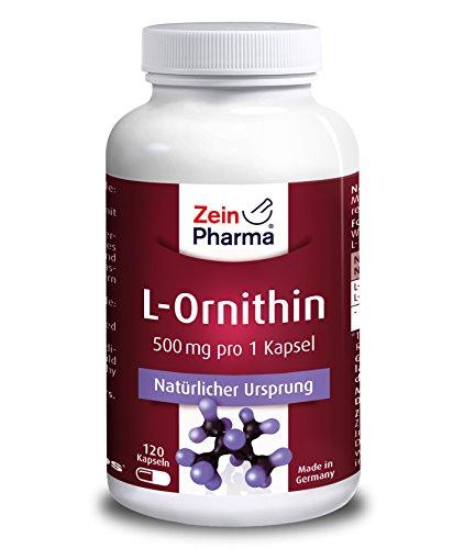 L-Ornithin 500 mg – gewonnen aus der Aminosäure L-Arginin – 120 Kapseln – von ZeinPharma®