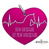 Pferde Glücksmarke'#Herzschlag' Sondermarke in pink von Soulhorse fürs Halfter, Trense und Zaumzeug