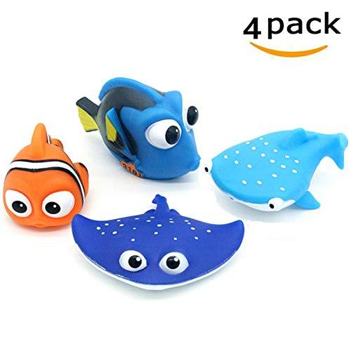 ALLCELE Babybade-Spielzeug, Finden Dory Nemo Squirt Spielzeug für Baby & Kleinkind Dusch Spielzeug und Schwimmen 4 Stück