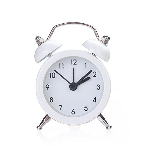 wiFndTu Mini Reloj de Alarma de Metal Redondo Soporte de Escritorio Reloj para la Sala de la Cocina de la habitación de su hogar - Blanco
