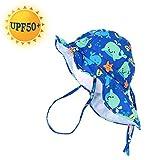 UPF50+ Sombrero de Sol con Cubrenuca para Niños Niñas Anti-UV Gorro Verano Gorrito para Playa, Natación, Pesca, Viaje, Excursión, Escuela Ajustable con Barbijo