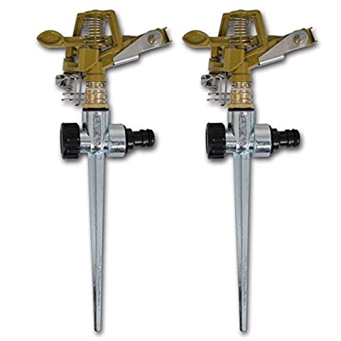 vidaXL Impulse Sprinklers Garden Watering Zinc Metal Spike 2 pcs