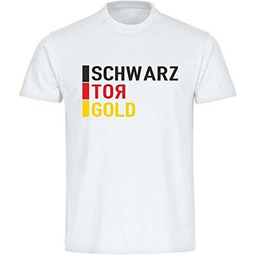 T-Shirt Schwarz Tor Gold Deutschland EM 2016 Frankreich Kinder weiß Gr. 128 – 176 France Germany Deutschland, Größe:140