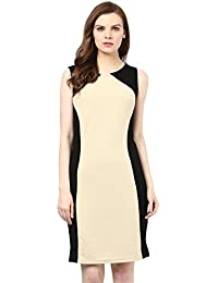 Marie Lucent Women Beige & Black Poly Lycra Bodycon Dress
