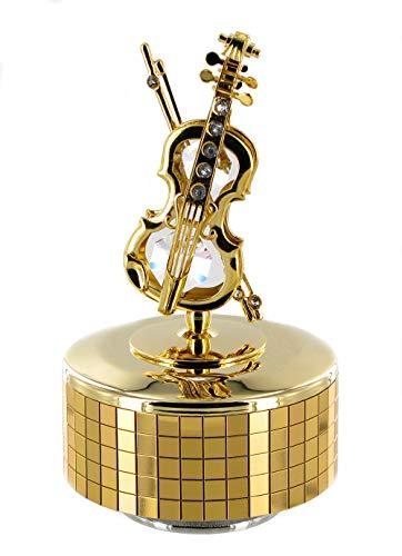 Caja de música / caja musical animada de metal dorado en forma de violín con cristales Swarovski (Ref: 12321) - La flauta mágica (W. A. Mozart)