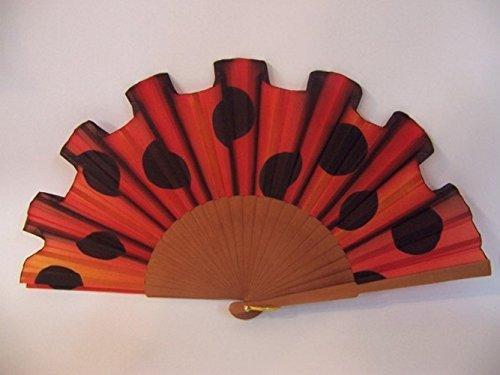 """Abanico de seda natural pintado y montado a mano """"Lunares flamencos"""" rojo y negro"""