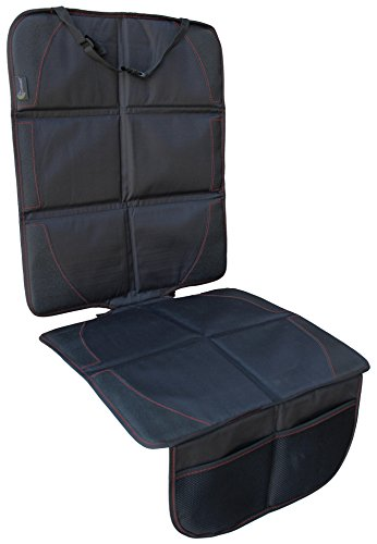 Clamaro 'CleanSeat PRO' Universal ISOFIX Autositzschoner mit Anti-Rutsch Rückseite, Kindersitzunterlage ist wasserabweisend und UV-beständig mit Anti-Rutsch Rückseite und hat 2 Organizer Taschen, Sitzschoner passend für alle Fahrzeugtypen mit oder ohne ISOFIX Vorrichtung - schwarz/rot