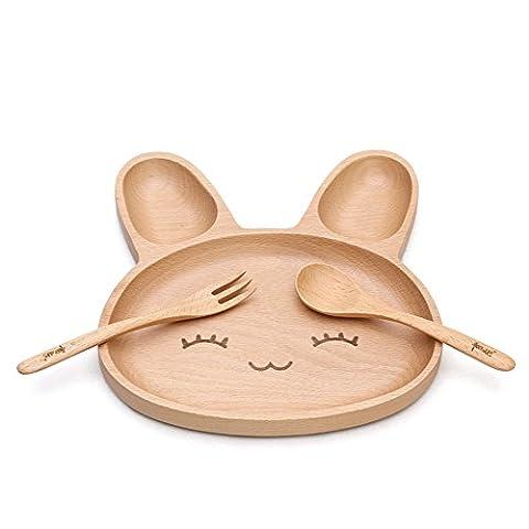 xytmy Baby Infant Füttern natur Holz geteilten Teller + Löffel + Gabel, großartiges Baby Geschenk Set, Liebenswürdig, Kaninchen Teller kinderfreundlich.