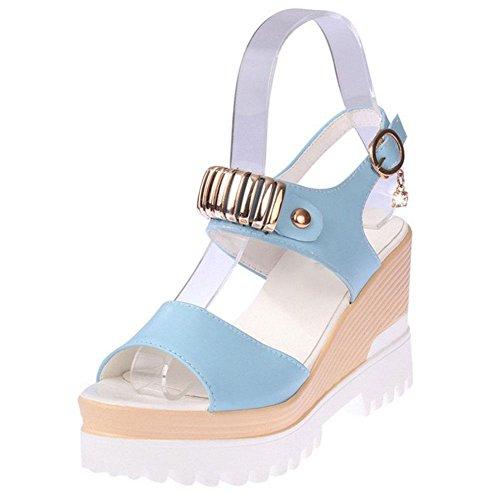 sandali dal fondo pesante femmina parola testa di pesce fibbia scarpe aperte in punta scarpe selvatici studenti crosta spessa Blue