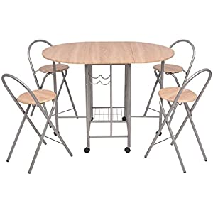 Festnight Folding Kitchen Breakfast Bar Set Table and Chair Set Dining Set MDF 5 PCS