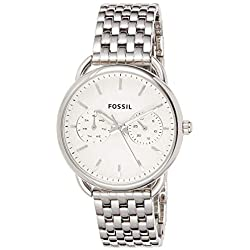 FOSSIL Montre Tailor femme / Montre-bracelet minimaliste avec cadran argenté - Multifonction : jour et mois - Boîte de rangement et pile incluses