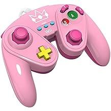 PDP - Mando Fight Pad Con Cable, Diseño Peach (Nintendo Wii U)
