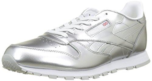 Reebok Mädchen Classic Leather Metallic Laufschuhe, versilbert (Silver/weiß), 38 EU