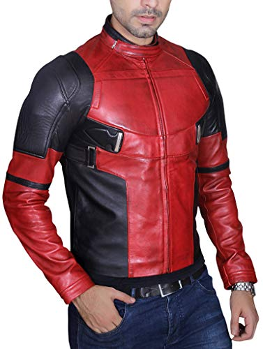 Herren Fashion Deadpool Wade Wilson Ryan Reynolds Kunstlederjacke - Rot - L (Deadpool Kostüm Ryan Reynolds)