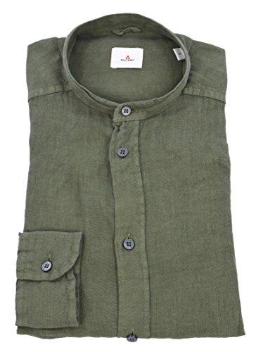 Peuterey uomo camicia coreana verde 100% lino hooper lin ppt 672-26298 - s