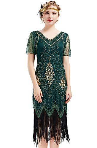 ArtiDeco 1920s Kleid Damen Flapper Kleid mit Kurzem Ärmel Gatsby Motto Party Damen Kostüm Kleid (Dunkelgrün, XS (Fits 70-74 cm Waist))