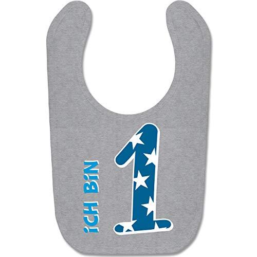 g Baby - Ich bin 1 Blau Junge Erster - Unisize - Grau meliert - BZ12 - Baby Lätzchen Baumwolle ()