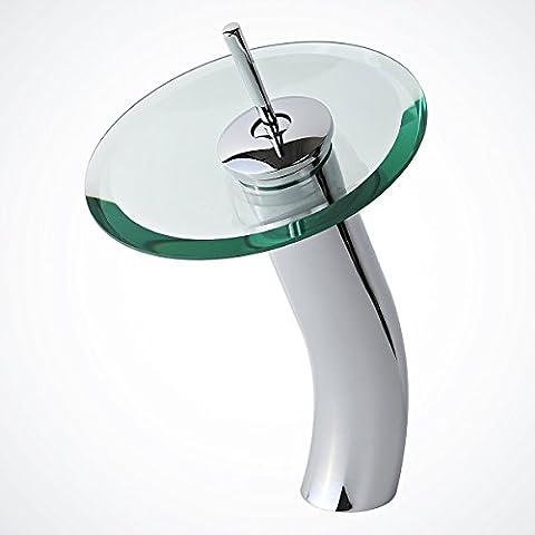 InChant Moderne Deck Berg Ein Einhand-weit verbreiteter Wasserfall Badewanne Mischbatterien Toilette Badewanne Badezimmer-Behälter-Wannen-Hahn-Chrom-Finish Glasauslauf einzelnes Loch-Rohre, Amaturen Einzigartige (Land Badezimmer-hahn-)