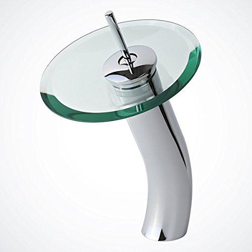 Einhebel-Vessel-Glas Wasserfall Spout Waschbecken Wasserhahn Mischbatterien Chrom-Finish mit Klarglas-Scheibe, Single Hole Verkauft Messing (Klarglas-finish)