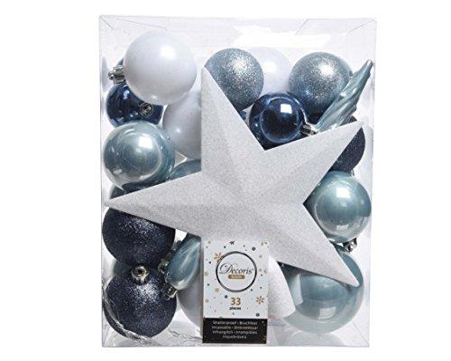 33er Set Kugelmix PVC Sternspitze Boules de Noël Décorations d'arbre Très Résistant Décorations Arbre de Noël Déco - Bleu/Blanc