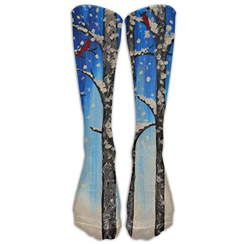 Long Dress Socks Over-the-Calf Tube Compression Socks Snow Tree Red Birds Training Football Athletic Sports Socks (Infant Snow Pants)