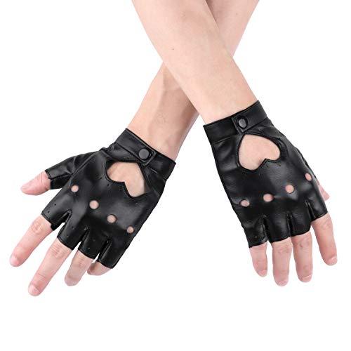 YOOJIA Damen Punk Lederhandschuhe Halbfinger Rock Gothic PU Leder Handschuhe für Cosplay Kostüm Fahrrad Sports Handschuhe Schwarz One Size