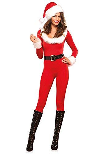 Kostüm Sexy Santa - Leg Avenue 85357 Santa Baby Catsuit - Größe Small EUR 36, rot/weiß