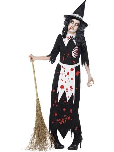 (Smiffys, Damen Zombie-Hexe Kostüm, Kleid und Hut, Größe: M, 40058)