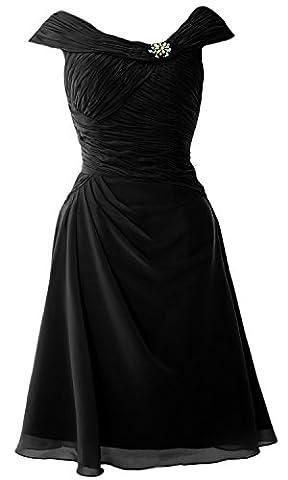 MACloth - Robe - Trapèze - Manches Courtes - Femme - noir - 34