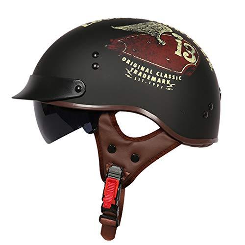 MetHlonsy Born to Ride Moycle Helm-Motocross Harley-Helm mit halbem Helm und halbem Jahrgang Tank XL -
