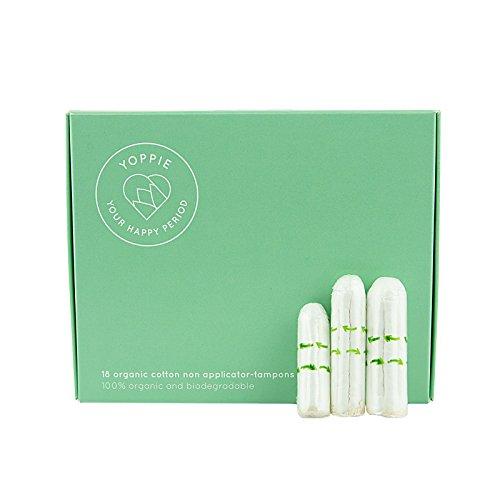 Tampons aus 100% Bio-Baumwolle, Set von yoppie 1Mini-Regular, 1, 6Größen, mit Zeit- und-biologisch abbaubar, parfümfrei (Mischung 15 G-packung)
