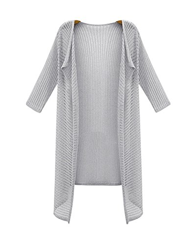 YOUJIA Femmes Manches 3/4 Waterfall Tricot Chandail Cardigan Sweater Jumper Blouse Gris