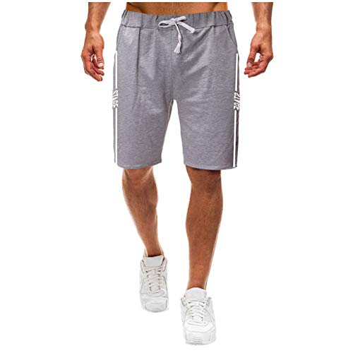 Kaiki Herren Kurze Hose Mode Sport Jogginghose Fitness Kurze Hose Kurze Pants Trainingshose Mit Tasche (L, Grau) -