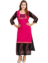 Zoeyams Women's Pink Cotton Block Prints Long Straight Kurti