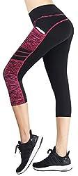 Neonysweets Womens Running Yoga Pants Active Tights Capri Workout Leggings Black Rose M