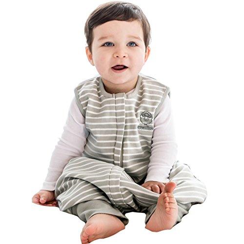 Woolino Baby Schlafsack mit Füßen öffnen Merino Wolle Walker 18-36 Monate Gray