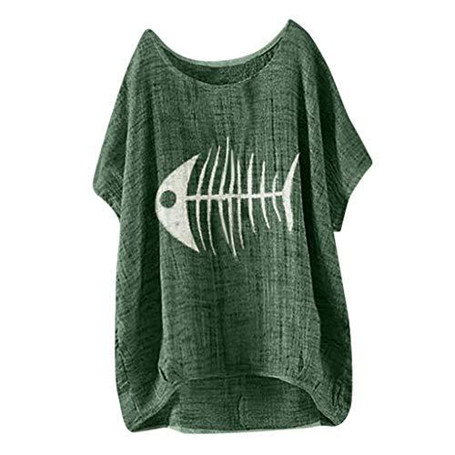 Kviklo Deman Plus Size T-Shirt Top Fish BoneCactus Druck Mode Einfarbig Loose Bluse Oversize(44,Grün-Gräten) -