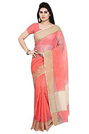 Applecreation Women'S Super Net Sarees New Collection (Peach_Nyk104_Free Size)