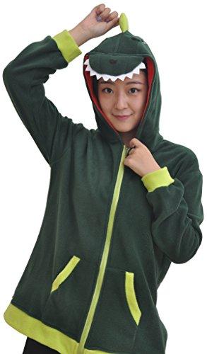 Kostüm Hoodie Jumpsuit Damen Herren Tier Kigurumi Onesie Christmas Winter (Dinosaurier Hoodie Für Erwachsene)