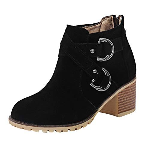 Deloito Damen Mode Kurz Kampfstiefel Dicke Plattform Wasserdicht Stiefeletten Quadratische Ferse Chelsea Ankle Boots Freizeit Niedrig Block Schuhe (Schwarz,40 EU) -
