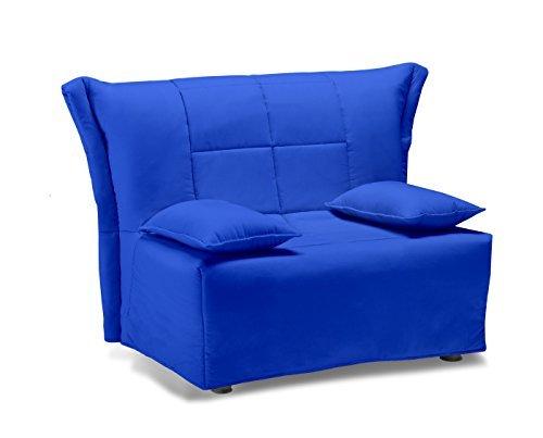 Divano letto open singolo, prontoletto con rivestimento in cotone blu